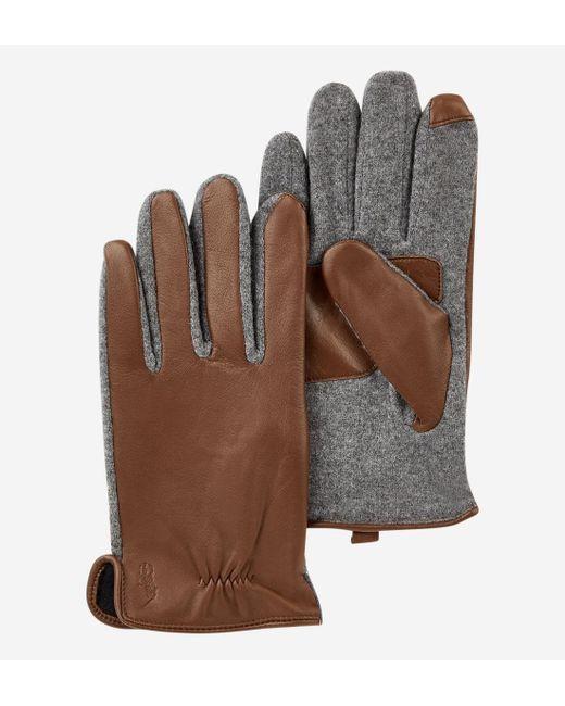 Gants tactiles en cuir et laine Polo Ralph Lauren pour homme en coloris Brown