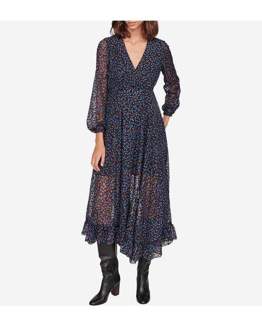 Robe Revana longue asymétrique en dévoré lurex Maje en coloris Blue