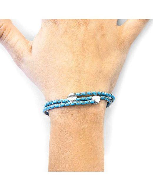 Bracelet Conway Argent et Cuir Tressé Anchor & Crew en coloris Blue