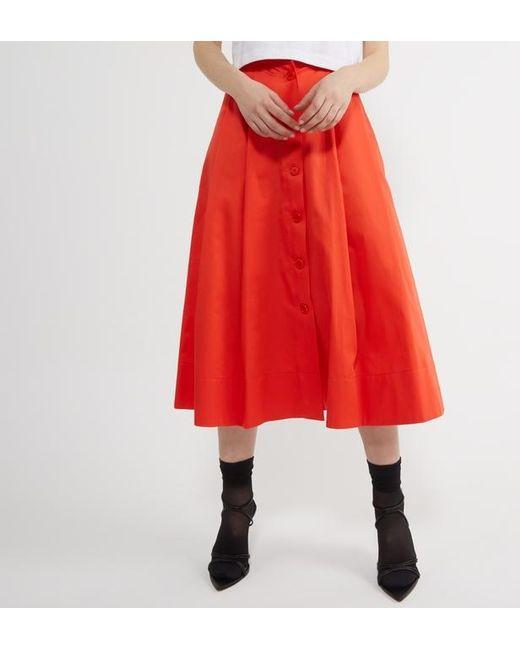 8f26512d34cc64 Jupe longue boutons coton femme de coloris orange