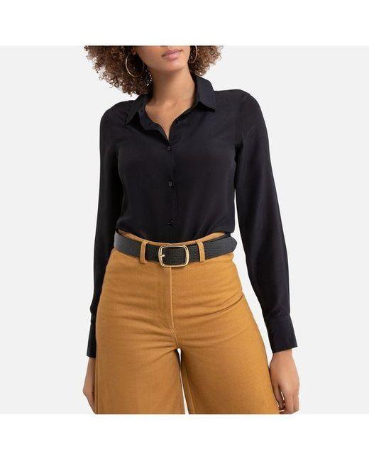 La Redoute Chemise en pure soie, manches longues femme de coloris noir KPUgV