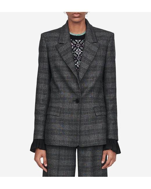 Veste Vanda cintrée façon tailleur imprimé Prince de Galles Maje en coloris Gray