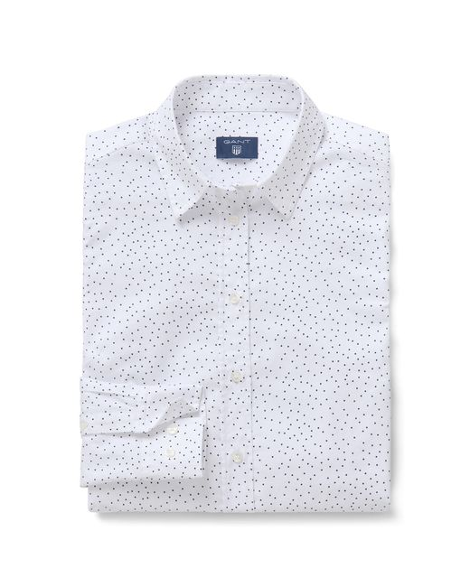 Gant White Slim Snow Dot Oxford Shirt