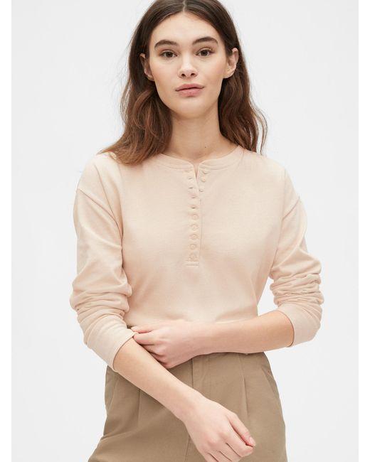 Gap Natural Originals Mariner Henley Long Sleeve T-shirt