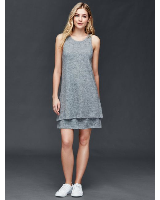 Gap Double Layer Linen Cotton Dress In Gray Heather Grey