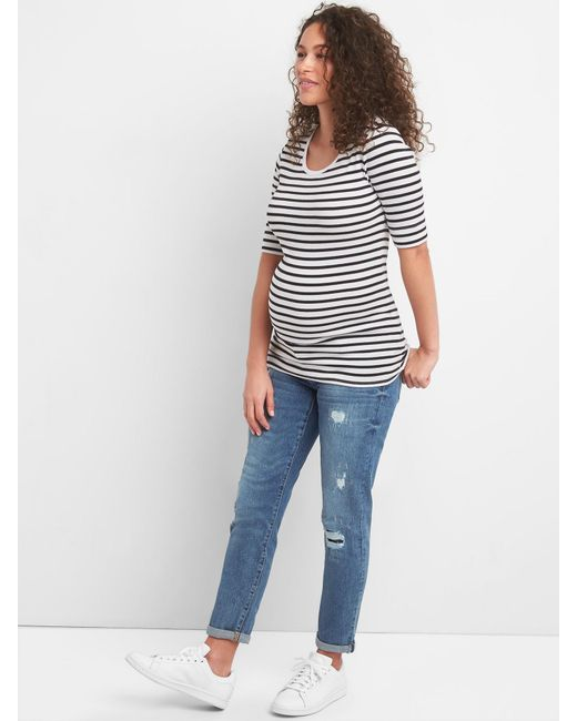 ff91cacd9882c ... Gap - Blue Maternity Inset Panel Repaired Best Girlfriend Jeans - Lyst  ...