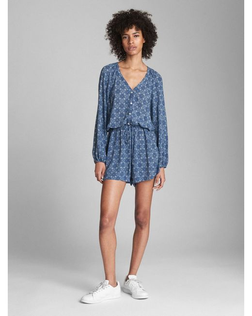73975fef5101 Gap Long Sleeve Button-front Romper in Blue - Lyst