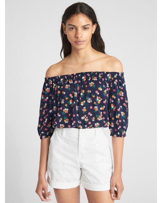 dfe6f51f1b63b Lyst - Gap Long Sleeve Floral Print Off-shoulder Top in Blue