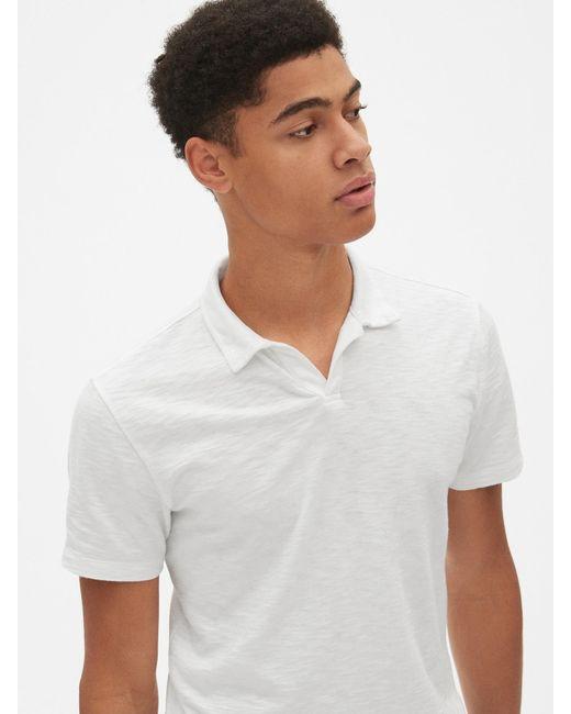 552b6f7b5 ... Gap - White Vintage Slub Jersey Polo Shirt Shirt for Men - Lyst ...