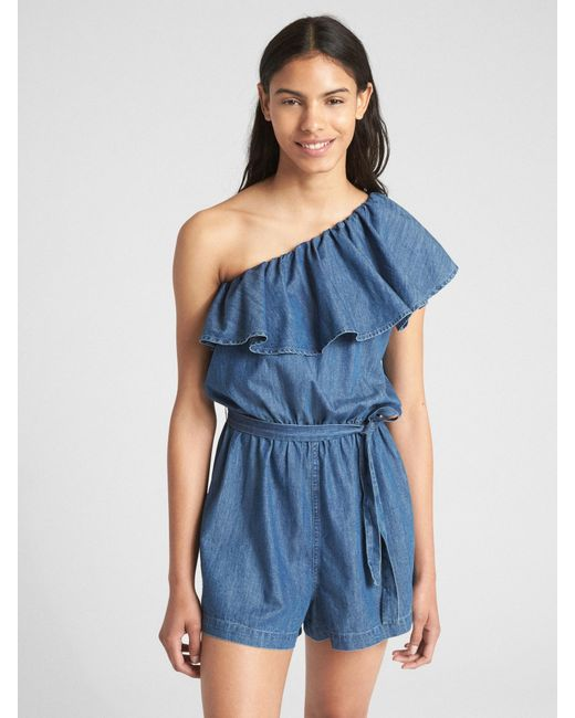 b8dbb1c4fd47 Lyst - Gap Ruffle One-shoulder Romper In Denim in Blue