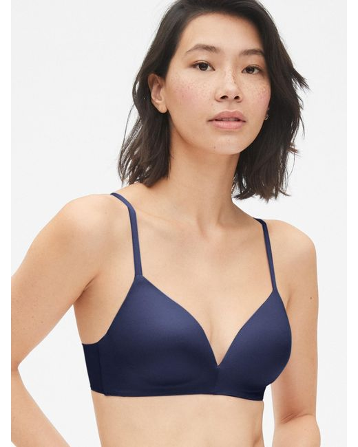 7473d32e5a Lyst - Gap Everyday Smooth Wireless Bra in Blue