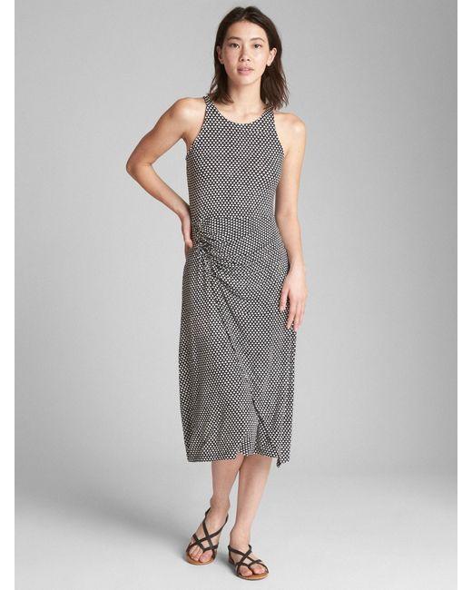 Gap - Gray Cinched Waist Tank Midi Dress - Lyst
