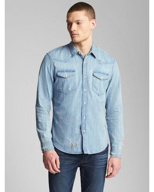 ee249e8336c Lyst - Gap Distressed Denim Western Shirt In Slim Fit in Blue for Men