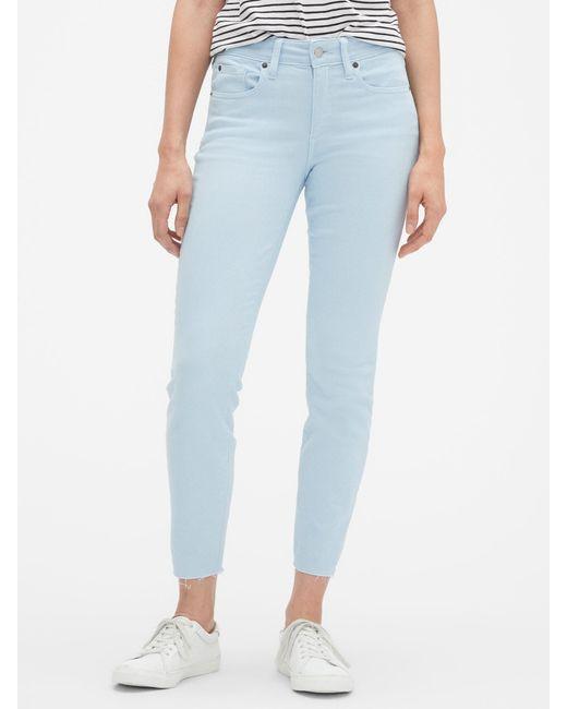 20a4d07822410 GAP Factory - Blue Mid Rise Curvy Legging Skimmer Jeans With Raw Hem - Lyst  ...