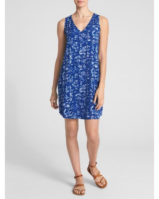 GAP Factory - Blue Sleeveless V-neck Print Shift Dress - Lyst