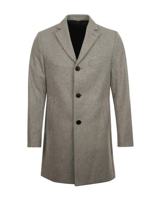 J.Lindeberg Gray Wolger Compact Melton Overcoat for men