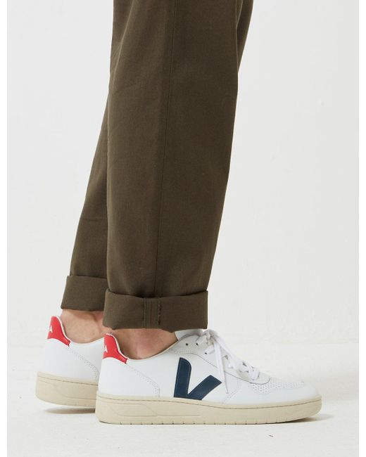Madewell V 10 Leather Trainers in White Navy Red (White