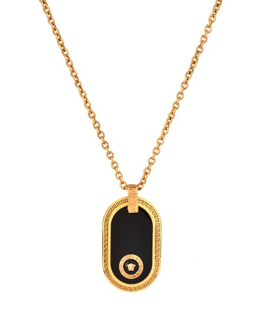 Versace - Metallic Enamel Backed Medusa Dog Tag Black tributegold - Lyst ... d2704d49bcb