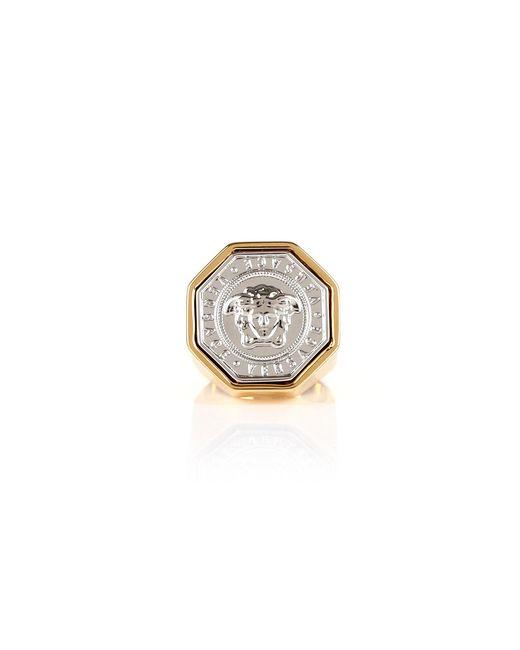 Versace - Metallic Medusa Octagon Coin Ring Gold/palladium - Lyst