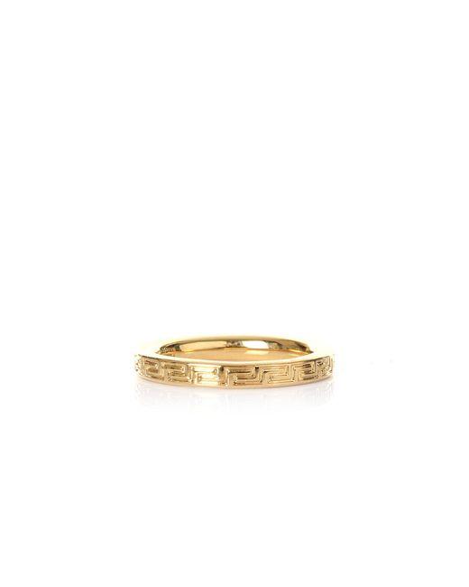 Men's Metallic Thin Greca Circle Ring Gold by Versace