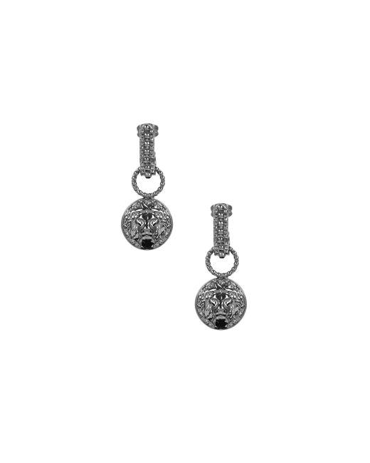 Versus  | Metallic Lion Head Drop Earrings Ruthenium | Lyst