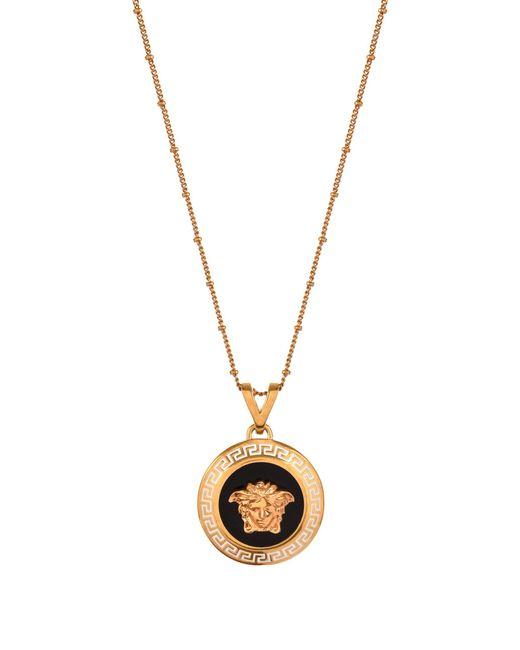 Versace - Metallic Enamel Medusa Head Disk Necklace Black/light Gold - Lyst