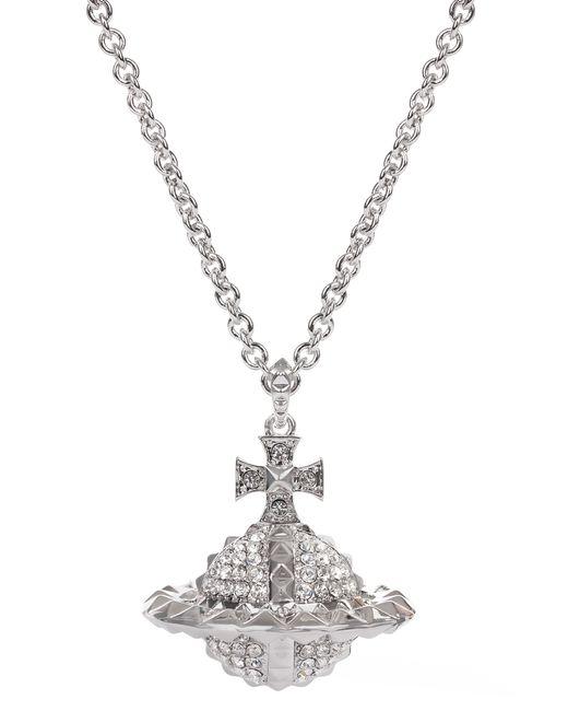 vivienne westwood mayfair 3d large orb pendant silver  crystal in metallic