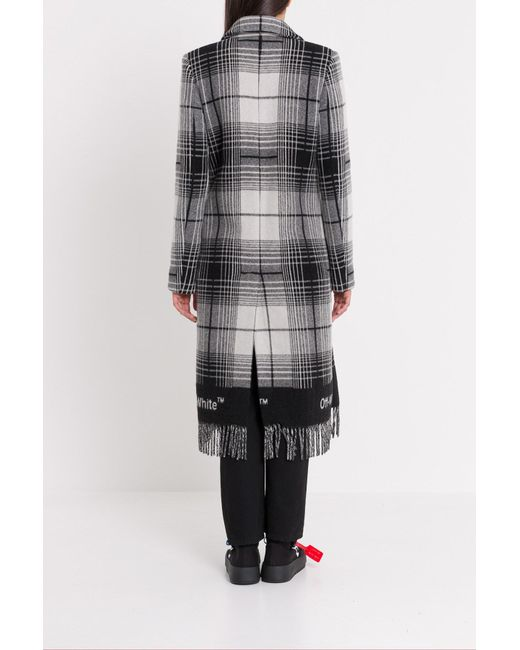 880661e96115f ... Off-White c o Virgil Abloh - Multicolor Double-breasted Checked Coat ...