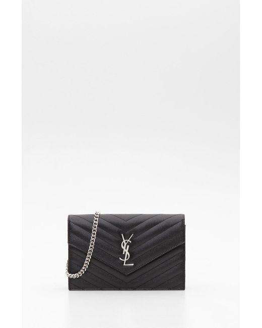 d35156a427 Saint Laurent - Multicolor Textured Matelassé Leather Envelope Chain Wallet  - Lyst ...