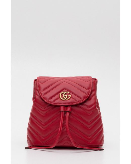 ab314bcf5c97 Lyst - Gucci Gg Marmont Quilted Leather Backpack in Red - Save 26%