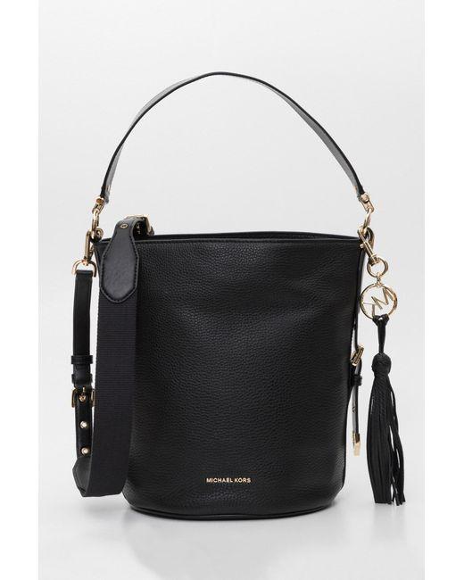 5a43848d5e09 MICHAEL Michael Kors - Black Brooke Medium Bucket Messenger Bag In Small  Pebble Leather And 18k ...