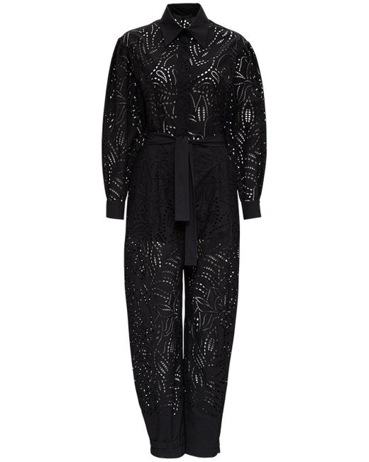 Alberta Ferretti Black Perforated Cotton Jumpsuit