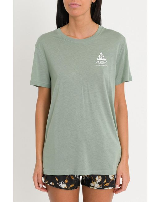 c5f141afbb01 Off-White c o Virgil Abloh - Green Arrows And Flowers Tee - Lyst ...