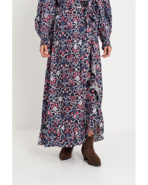 718560a65a4 Étoile Isabel Marant - Blue Wrap Long Skirt With Flounce - Lyst ...
