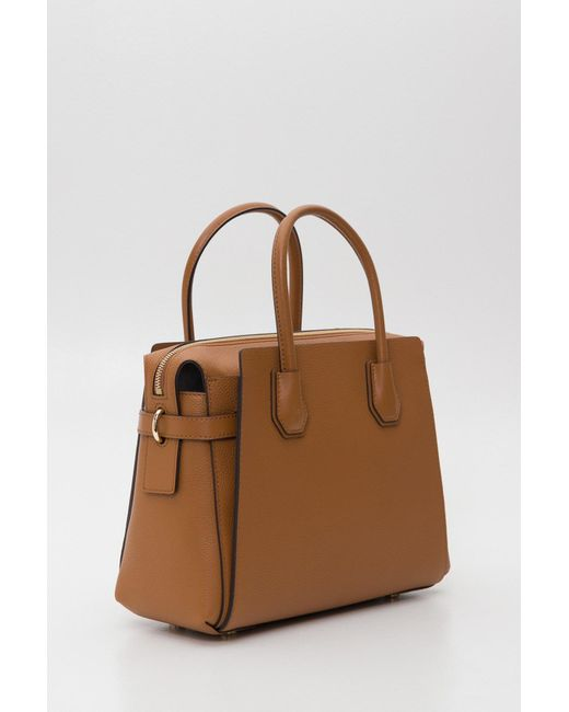 2607aa99eec ... MICHAEL Michael Kors - Brown Mercer Medium Pebbled Leather Belted  Satchel - Lyst ...