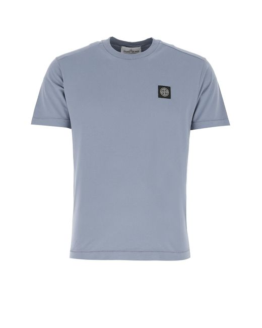 Stone Island Powder Blue Cotton T-shirt Uomo for men