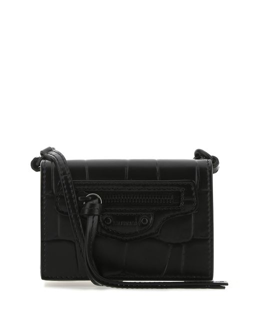 Balenciaga Black Leather Mini Neo Classic Wallet Donna