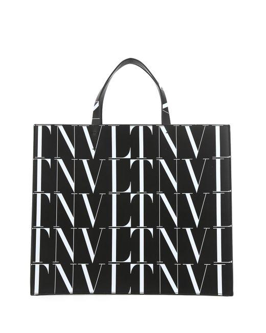 Valentino Garavani Black Leather Shopping Bag Uomo for men