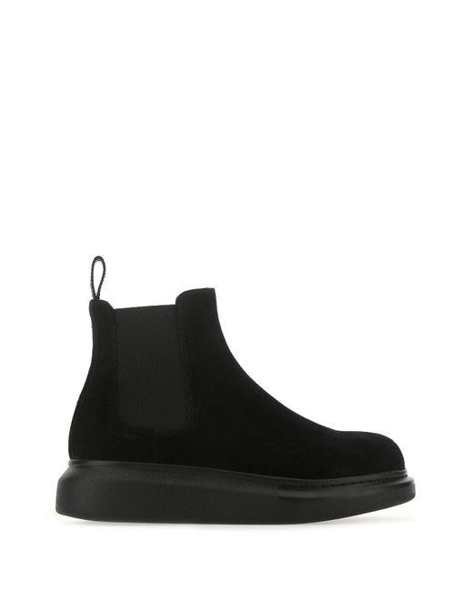 Alexander McQueen Black Suede Hybrid Ankle Boots Nd Donna