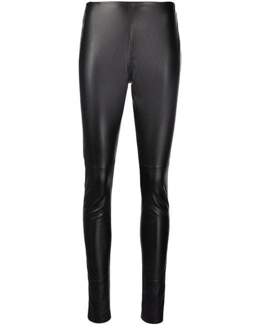 Amen Black Leather leggings