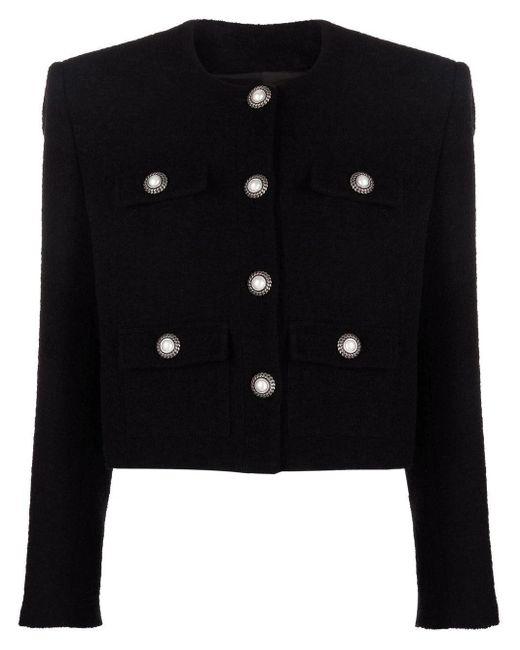 Alessandra Rich Black Cropped Tweed Jacket