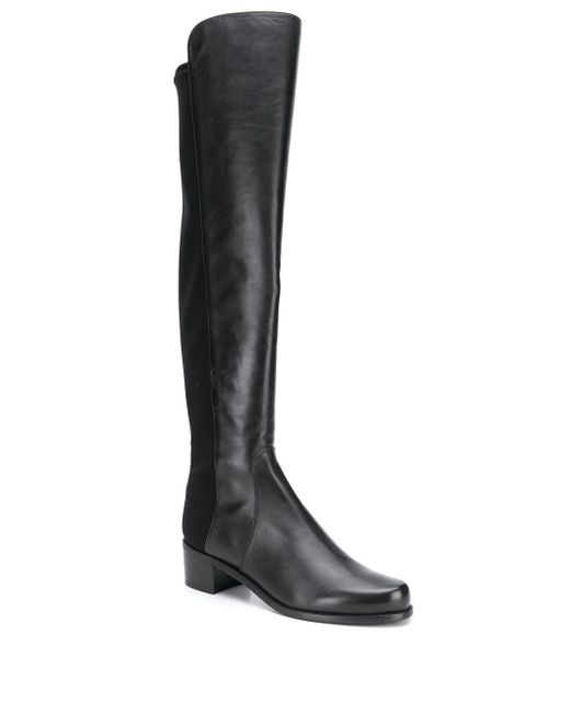 Stuart Weitzman Black Lowjack Leather and Neoprene Knee-High Boots