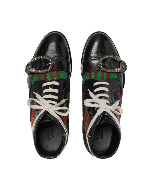 3735b7341 Gucci Tartan Queercore Brogue Boot in Black for Men - Save 22% - Lyst