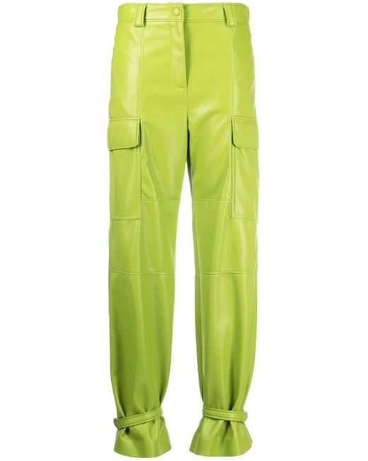 MSGM Green Leather Trousers With Ankle Ties