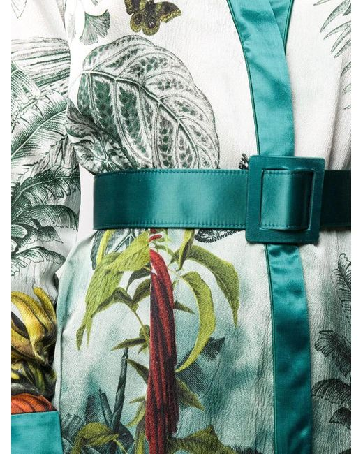 F.R.S For Restless Sleepers Blue Green Silk Botanical Print Dress