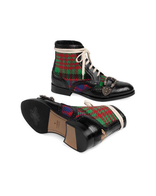 7e6372148b6 Gucci Tartan Queercore Brogue Boot in Black for Men - Save 22% - Lyst