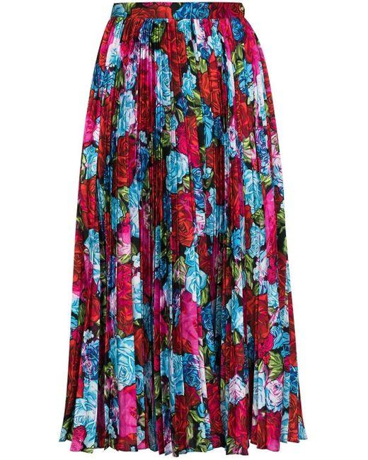 Versace Red Tie-dye Roses Print Pleated Silk Midi Skirt