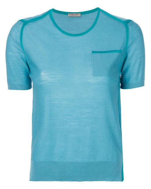 Lyst bottega veneta contrast panel t shirt in blue save 4 for Bottega veneta t shirt