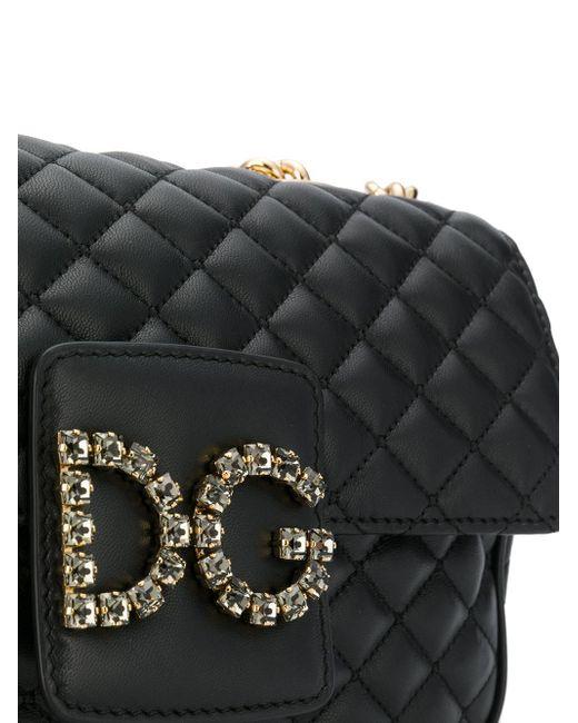 e09491ce8564 Lyst - Dolce   Gabbana Quilted Logo Shoulder Bag in Black - Save ...