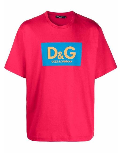 Dolce & Gabbana Red Logo-print Boxy Fit T-shirt for men